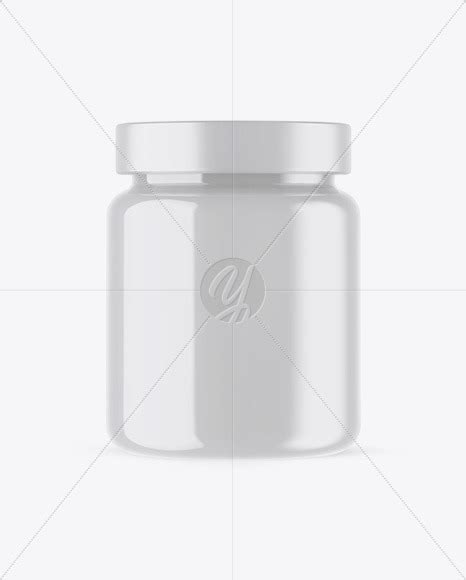 This mockup is available for purchase on yellow images only. Glossy Plastic Protein Jar Mockup in Jar Mockups on Yellow ...