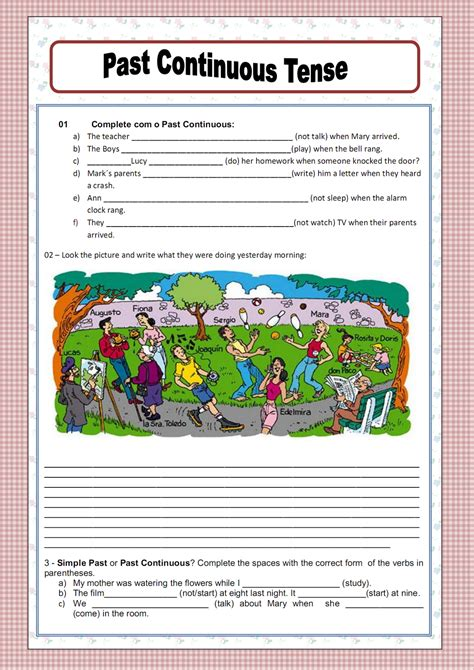 pdf worksheets on past continuous tense past continuous tense worksheets