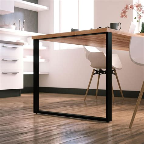 pied reglable cuisine pied de table forme rectangle en metal noir hauteur