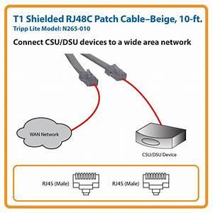 Amazon Com  Tripp Lite T1 Shielded Rj48c Patch Cable  Rj45