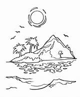 Coloring Island Sunset Cartoon Printable Tropical Sheets Drawing Pirate Colouring Simple Az Pirates Adult Sunrise Islands Drawings Ocean Adults Getdrawings sketch template