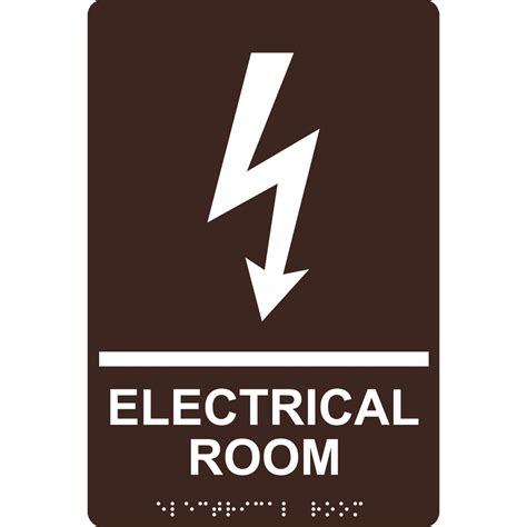 Ada Electrical Room Braille Sign Rre945whtondkbn Wayfinding