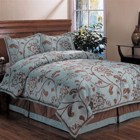 Brown Patterned Duvet Cover by Bedroom Brown Florlar Pattern On Aqua Blue Duvet Covers