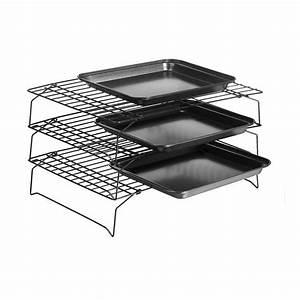 3 Tier Baking Cooling Rack Nonstick Stackable Grid Cooking ...