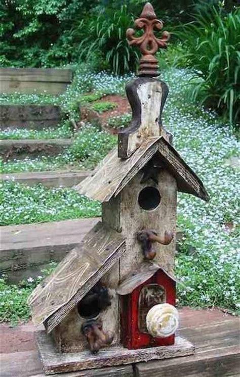 double condo vintage birdhouse  lorenzos wood works