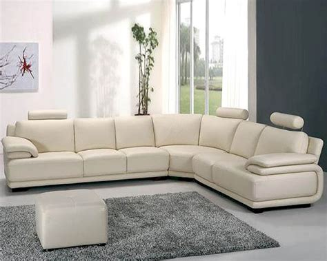 Off White Leather Sectional Sofa Set 44la31