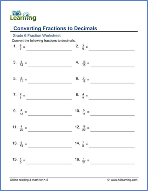 grade 6 fractions vs decimals worksheets free printable k5 learning