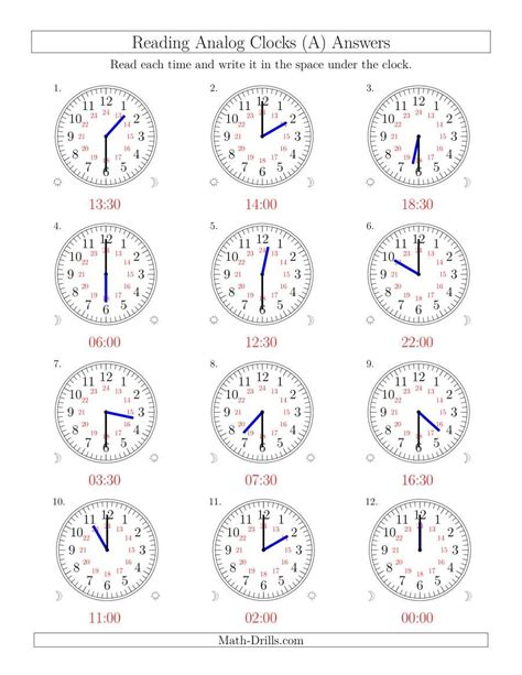 reading time   hour analog clocks   hour