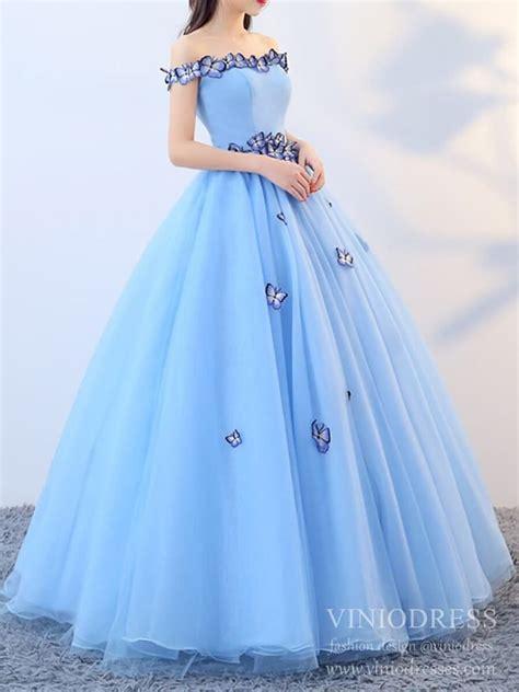 cheap light blue butterfly quinceanera dress sweet