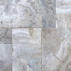 versailles pattern travertine silver chiseled edge