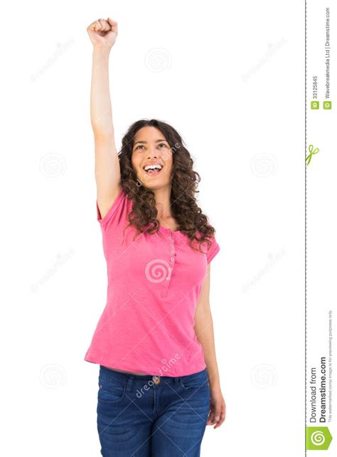 Cute Casual Brunette Holding Her Fist Up Stock Image Image Of Cute Brown