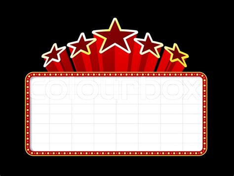 broadway ticket template blank movie theater or casino marquee with stars isolated
