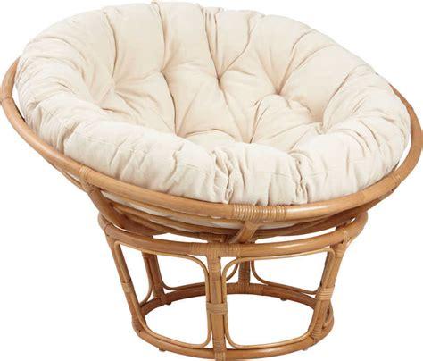 fauteuil papasan en rotin avec coussin 233 cru
