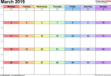 Calendar March 2019 Uk, Bank Holidays, Excel/pdf/word