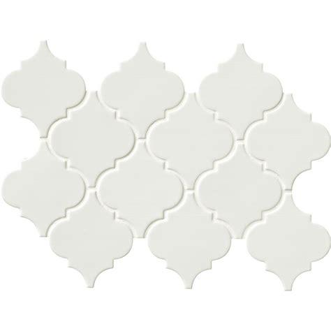 ceramic backsplash tiles for kitchen ms international whisper white arabesque 10 1 2 in x 15 1