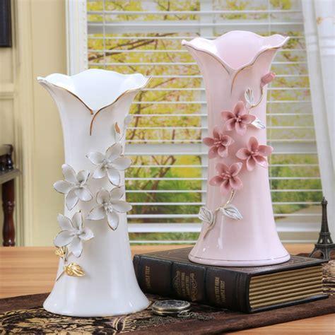 ceramic white pink flowers vase home decor large floor