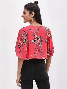 Buy Koovs Multi Butterfly Sleeve Printed Crop Top For