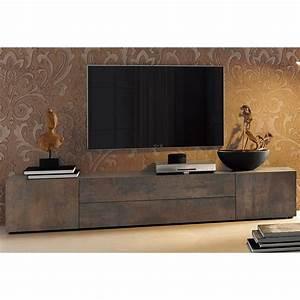 Meuble Tv Bas Et Long : meuble tv bas 2 portes 2 tiroirs centraux l 200 cm brun rouille autres mobilier 3suisses ~ Teatrodelosmanantiales.com Idées de Décoration