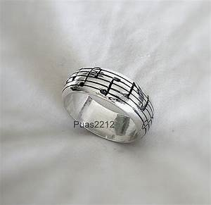 sterling silver pentagram ring musical notes music man With music wedding ring