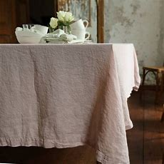 Stone Washed Rosa Linen Tablecloth By Linenme