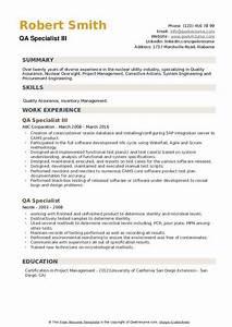 Qa Specialist Resume Samples