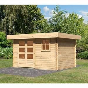Toit En Bois : abri de jardin toit plat 9m bois brut 28mm halamir karibu ~ Melissatoandfro.com Idées de Décoration