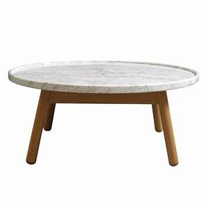 Carve coffee table round oak base white marble top by for Coffee table base for marble top