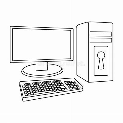 Outline Computer Icon Locked Hackers Background Illustration