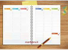 Fogli per Agenda Settimanale da stampare scarica il PDF