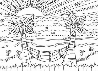 Coloring Beach Pages Tropical Scenes Activities