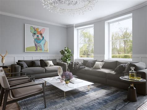 Chic Contemporary Spaces Rendered By Anh Nguyen : Large Wall Art For Living Rooms
