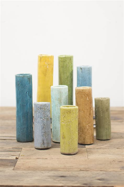 set   brightly colored cylinder bud vases