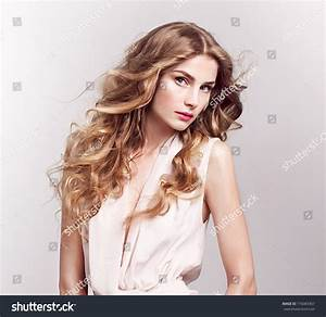 Fashion Model Blonde Curly Hair Spring Stock Photo