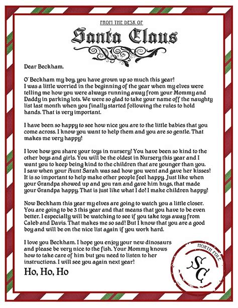 letters from santa 2017 letter from santa printable template letter of 71490