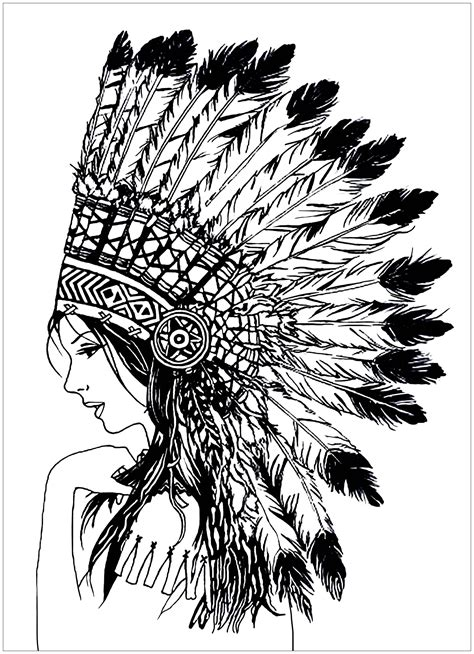 beautiful indian woman native american adult coloring pages