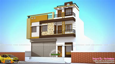 2 house plans with shops on ground floor - Kerala home