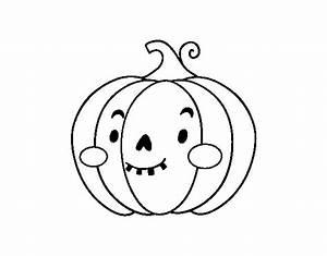 Dibujo de Calabaza de Halloween simpática para Colorear ...