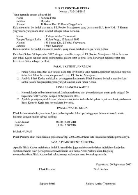 Download Contoh Surat Kontrak Kerja yang Baik