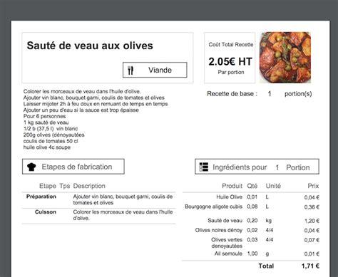 fiche technique de cuisine calcul du prix de revient d une recette en cuisine koust