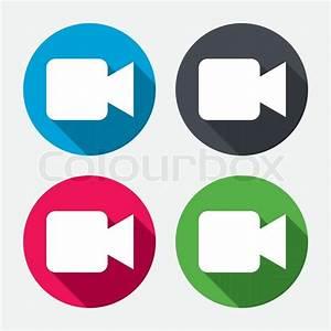 Video camera sign icon. Video content button. Circle ...