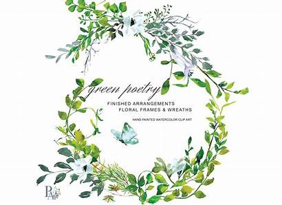 Greenery Watercolor Wreath Clipart Frame Painted Hand