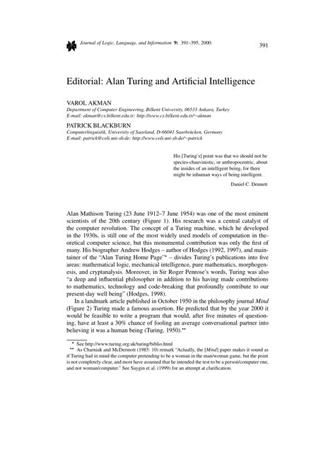 (PDF) Editorial: Alan Turing and Artificial Intelligence
