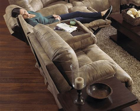 catnapper transformer triple reclining sofa voyager lay flat reclining sofa with drop down table in