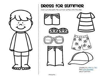 summer clothes dress boy  girl  clothes worksheet summer outfits summer worksheets