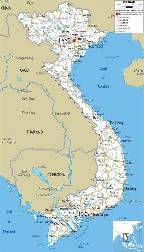 detailed clear large road map  vietnam ezilon maps