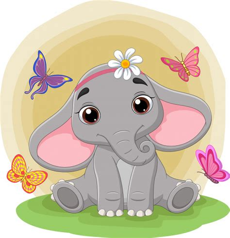 Baby elephant sitting in room and watching city. Premium Vector   Cute baby elephant sitting in the grass ...