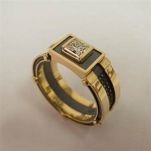 gold signet ring men39s 14k gold and diamond band With mens steampunk wedding ring
