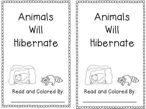 printable of animals that hibernate printable pages