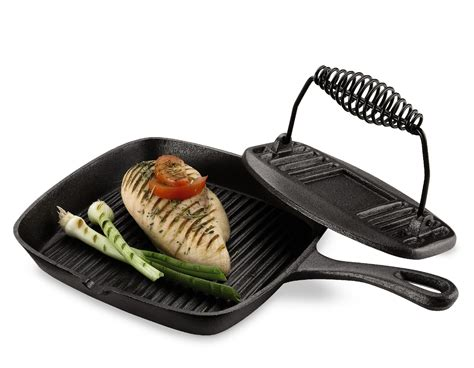 essential home cast iron grill pan  press set