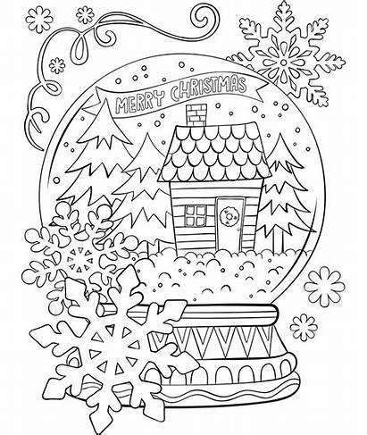 Christmas Merry Snowglobe Coloring Crayola Pages